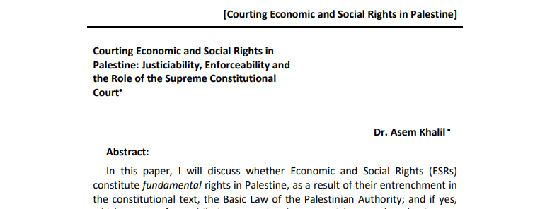 Courting Economic and Social Rights in Palestine