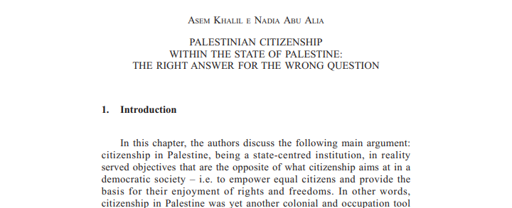 Palesinian Citizenship within the State of Palestine